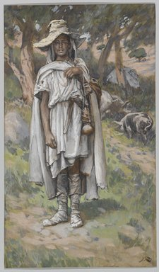 James Tissot (French, 1836-1902). <em>The Prodigal Son Begging (L'enfant prodigue mendiant)</em>, 1886-1894. Opaque watercolor over graphite on gray wove paper, Image: 7 15/16 x 4 5/8 in. (20.2 x 11.7 cm). Brooklyn Museum, Purchased by public subscription, 00.159.184 (Photo: Brooklyn Museum, 00.159.184_PS1.jpg)