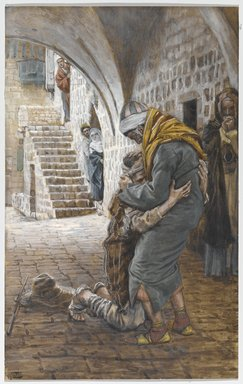 James Tissot (French, 1836-1902). <em>The Return of the Prodigal Son (Le retour de l'enfant prodigue)</em>, 1886-1894. Opaque watercolor over graphite on gray wove paper, Image: 8 11/16 x 5 1/2 in. (22.1 x 14 cm). Brooklyn Museum, Purchased by public subscription, 00.159.185 (Photo: Brooklyn Museum, 00.159.185_PS1.jpg)
