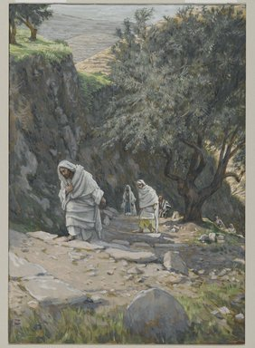 James Tissot (French, 1836-1902). <em>He Went on His Way to Ephraim (Il s'en alla à Ephrem)</em>, 1886-1896. Opaque watercolor over graphite on gray wove paper, Image: 8 3/4 x 6 1/16 in. (22.2 x 15.4 cm). Brooklyn Museum, Purchased by public subscription, 00.159.186 (Photo: Brooklyn Museum, 00.159.186_PS2.jpg)