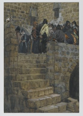 James Tissot (French, 1836-1902). <em>The Evil Counsel (Le mauvais conseil)</em>, 1886-1894. Opaque watercolor over graphite on gray wove paper, Image: 10 3/8 x 7 1/8 in. (26.4 x 18.1 cm). Brooklyn Museum, Purchased by public subscription, 00.159.187 (Photo: Brooklyn Museum, 00.159.187_PS2.jpg)