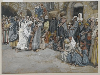 James Tissot (French, 1836-1902). <em>Suffer the Little Children to Come unto Me (Laisser venir à moi les petits enfants)</em>, 1886-1896. Opaque watercolor over graphite on gray wove paper, Image: 7 x 9 7/16 in. (17.8 x 24 cm). Brooklyn Museum, Purchased by public subscription, 00.159.188 (Photo: Brooklyn Museum, 00.159.188_PS2.jpg)