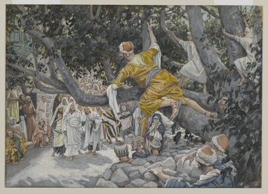 James Tissot (French, 1836-1902). <em>Zacchaeus in the Sycamore Awaiting the Passage of Jesus (Zachée sur le sycomore attendant le passage de Jésus)</em>, 1886-1896. Opaque watercolor over graphite on gray wove paper, Image: 7 1/8 x 9 15/16 in. (18.1 x 25.2 cm). Brooklyn Museum, Purchased by public subscription, 00.159.189 (Photo: Brooklyn Museum, 00.159.189_PS2.jpg)