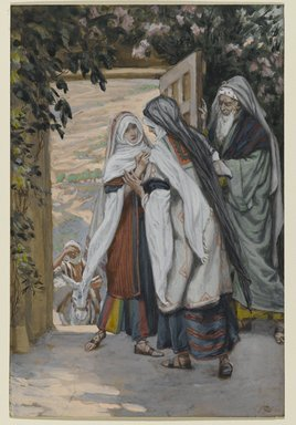 James Tissot (French, 1836-1902). <em>The Visitation (La visitation)</em>, 1886-1894. Opaque watercolor over graphite on gray wove paper, Image: 6 7/8 x 4 5/8 in. (17.5 x 11.7 cm). Brooklyn Museum, Purchased by public subscription, 00.159.18 (Photo: Brooklyn Museum, 00.159.18_PS2.jpg)