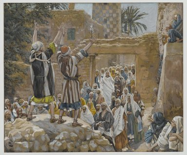 James Tissot (French, 1836-1902). <em>The Two Blind Men at Jericho (Les deux aveugles à Jericho)</em>, 1886-1896. Opaque watercolor over graphite on gray wove paper, Image: 7 7/8 x 9 3/8 in. (20 x 23.8 cm). Brooklyn Museum, Purchased by public subscription, 00.159.190 (Photo: Brooklyn Museum, 00.159.190_PS2.jpg)