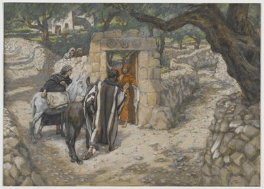 James Tissot (French, 1836-1902). <em>The Foal of Bethpage (L'ânon de Bethphagé)</em>, 1886-1894. Opaque watercolor over graphite on gray wove paper, Image: 6 5/8 x 9 3/16 in. (16.8 x 23.3 cm). Brooklyn Museum, Purchased by public subscription, 00.159.191 (Photo: Brooklyn Museum, 00.159.191_PS2.jpg)