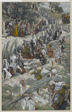 James Tissot (French, 1836-1902). <em>The Procession on the Mount of Olives (Le cortège sur le mont des Oliviers)</em>, 1886-1894. Opaque watercolor over graphite on gray wove paper, Image: 8 5/8 x 5 9/16 in. (21.9 x 14.1 cm). Brooklyn Museum, Purchased by public subscription, 00.159.192 (Photo: Brooklyn Museum, 00.159.192_PS2.jpg)