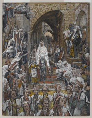 James Tissot (French, 1836-1902). <em>The Procession in the Streets of Jerusalem (Le cortège dans les rues de Jérusalem)</em>, 1886-1894. Opaque watercolor over graphite on gray wove paper, Image: 8 7/8 x 6 15/16 in. (22.5 x 17.6 cm). Brooklyn Museum, Purchased by public subscription, 00.159.194 (Photo: Brooklyn Museum, 00.159.194_PS2.jpg)