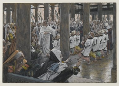 James Tissot (French, 1836-1902). <em>The Procession in the Temple (Le cortège dans le Temple)</em>, 1886-1894. Opaque watercolor over graphite on gray wove paper, Image: 7 7/8 x 11 3/16 in. (20 x 28.4 cm). Brooklyn Museum, Purchased by public subscription, 00.159.195 (Photo: Brooklyn Museum, 00.159.195_PS2.jpg)