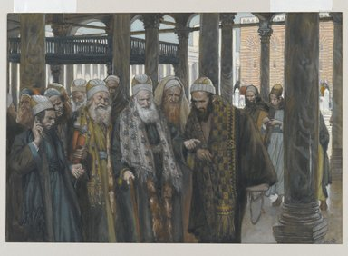 James Tissot (French, 1836-1902). <em>The Chief Priests Take Counsel Together (Les princes des prêtres se consultent)</em>, 1886-1894. Opaque watercolor over graphite on gray wove paper, Image: 7 1/8 x 10 5/16 in. (18.1 x 26.2 cm). Brooklyn Museum, Purchased by public subscription, 00.159.196 (Photo: Brooklyn Museum, 00.159.196_PS2.jpg)