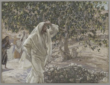 James Tissot (French, 1836-1902). <em>The Accursed Fig Tree (Le figuier maudit)</em>, 1886-1894. Opaque watercolor over graphite on gray wove paper, Image: 8 3/8 x 11 in. (21.3 x 27.9 cm). Brooklyn Museum, Purchased by public subscription, 00.159.197 (Photo: Brooklyn Museum, 00.159.197_PS2.jpg)