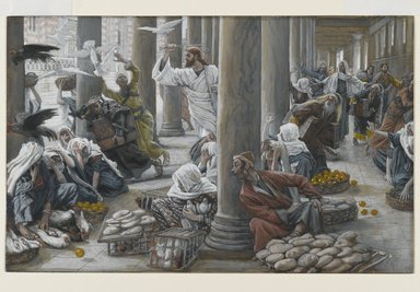 James Tissot (French, 1836-1902). <em>The Merchants Chased from the Temple (Les vendeurs chassés du Temple)</em>, 1886-1894. Opaque watercolor over graphite on gray wove paper, Image: 7 5/16 x 11 9/16 in. (18.6 x 29.4 cm). Brooklyn Museum, Purchased by public subscription, 00.159.198 (Photo: Brooklyn Museum, 00.159.198_PS2.jpg)