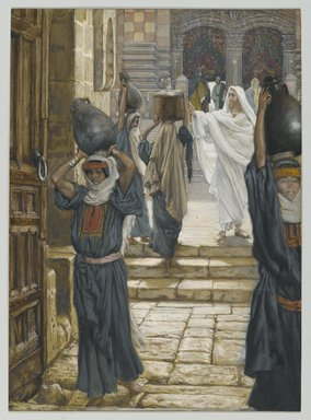 James Tissot (French, 1836-1902). <em>Jesus Forbids the Carrying of Loads in the Forecourt of the Temple (Jésus empêche de porter les fardeaux dans le parvis du Temple)</em>, 1886-1894. Opaque watercolor over graphite on gray wove paper, Image: 9 7/8 x 7 1/8 in. (25.1 x 18.1 cm). Brooklyn Museum, Purchased by public subscription, 00.159.199 (Photo: Brooklyn Museum, 00.159.199_PS2.jpg)
