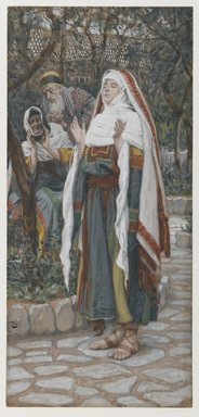 James Tissot (French, 1836-1902). <em>The Magnificat (Le magnificat)</em>, 1886-1894. Opaque watercolor over graphite on gray wove paper, Image: 9 15/16 x 4 5/8 in. (25.2 x 11.7 cm). Brooklyn Museum, Purchased by public subscription, 00.159.19 (Photo: Brooklyn Museum, 00.159.19_PS1.jpg)