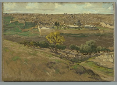 James Tissot (French, 1836-1902). <em>Jerusalem from the Mount of Olives (Jérusalem. Prise du mont des Oliviers)</em>, 1886-1894. Oil on board, 14 1/2 x 20 3/8 in. (36.8 x 51.8 cm). Brooklyn Museum, Purchased by public subscription, 00.159.1 (Photo: Brooklyn Museum, 00.159.1_PS2.jpg)
