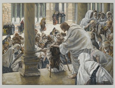 James Tissot (French, 1836-1902). <em>He Heals the Lame (Il guérit les boiteux)</em>, 1886-1894. Opaque watercolor over graphite on gray wove paper, Image: 7 13/16 x 10 9/16 in. (19.8 x 26.8 cm). Brooklyn Museum, Purchased by public subscription, 00.159.200 (Photo: Brooklyn Museum, 00.159.200_PS2.jpg)