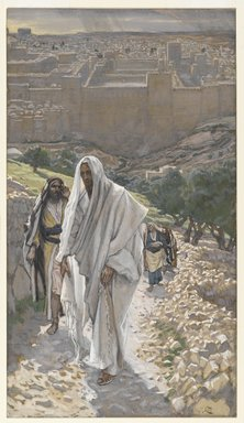 James Tissot (French, 1836-1902). <em>Jesus Goes in the Evening to Bethany (Jésus va le soir à Béthanie)</em>, 1886-1894. Opaque watercolor over graphite on gray wove paper, Image: 9 3/16 x 5 3/16 in. (23.3 x 13.2 cm). Brooklyn Museum, Purchased by public subscription, 00.159.201 (Photo: Brooklyn Museum, 00.159.201_PS2.jpg)