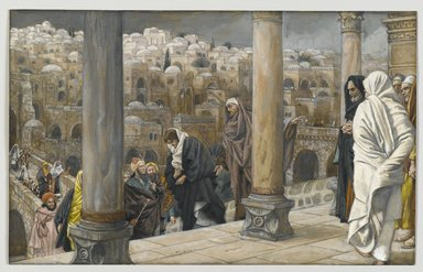 James Tissot (French, 1836-1902). <em>The Gentiles Ask to See Jesus (Les gentils demandent à voir Jésus)</em>, 1886-1894. Opaque watercolor over graphite on gray wove paper, Image: 7 3/16 x 11 3/8 in. (18.3 x 28.9 cm). Brooklyn Museum, Purchased by public subscription, 00.159.202 (Photo: Brooklyn Museum, 00.159.202_PS2.jpg)