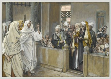 James Tissot (French, 1836-1902). <em>The Chief Priests Ask Jesus by What Right Does He Act in This Way (Les princes des prêtres interrogent Jésus de quel droit il agit)</em>, 1886-1894. Opaque watercolor over graphite on gray wove paper, Image: 7 7/16 x 10 7/16 in. (18.9 x 26.5 cm). Brooklyn Museum, Purchased by public subscription, 00.159.204 (Photo: Brooklyn Museum, 00.159.204_PS2.jpg)