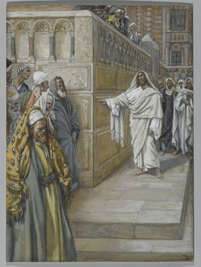 James Tissot (French, 1836-1902). <em>The Corner Stone (Le pierre angulaire)</em>, 1886-1894. Opaque watercolor over graphite on gray wove paper, Image: 7 1/8 x 5 1/4 in. (18.1 x 13.3 cm). Brooklyn Museum, Purchased by public subscription, 00.159.205 (Photo: Brooklyn Museum, 00.159.205_PS2.jpg)