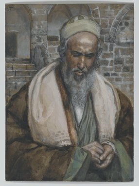 James Tissot (French, 1836-1902). <em>Saint Luke (Saint Luc)</em>, 1886-1894. Opaque watercolor over graphite on gray wove paper, Image: 5 7/16 x 3 15/16 in. (13.8 x 10 cm). Brooklyn Museum, Purchased by public subscription, 00.159.207 (Photo: Brooklyn Museum, 00.159.207_PS2.jpg)