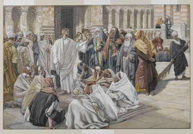 James Tissot (French, 1836-1902). <em>The Pharisees Question Jesus (Les pharisiens questionnent Jésus)</em>, 1886-1894. Opaque watercolor over graphite on gray wove paper, Image: 7 3/8 x 11 1/8 in. (18.7 x 28.3 cm). Brooklyn Museum, Purchased by public subscription, 00.159.208 (Photo: Brooklyn Museum, 00.159.208_PS2.jpg)