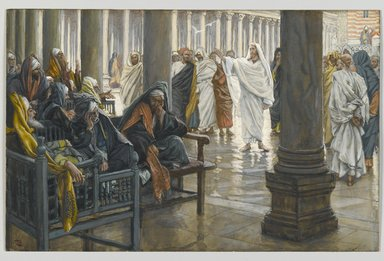 James Tissot (French, 1836-1902). <em>Woe unto You, Scribes and Pharisees (Malheur à vous, scribes et pharisiens)</em>, 1886-1894. Opaque watercolor over graphite on gray wove paper, Image: 6 11/16 x 10 3/8 in. (17 x 26.4 cm). Brooklyn Museum, Purchased by public subscription, 00.159.209 (Photo: Brooklyn Museum, 00.159.209_PS2.jpg)