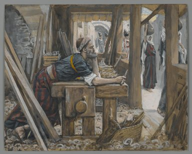 James Tissot (French, 1836-1902). <em>The Anxiety of Saint Joseph (L'anxiété de Saint Joseph)</em>, 1886-1894. Opaque watercolor over graphite on gray wove paper, Image: 6 5/16 x 7 13/16 in. (16 x 19.8 cm). Brooklyn Museum, Purchased by public subscription, 00.159.20 (Photo: Brooklyn Museum, 00.159.20_PS2.jpg)