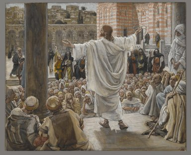 James Tissot (French, 1836-1902). <em>Jerusalem Jerusalem (Jérusalem Jérusalem)</em>, 1886-1894. Opaque watercolor over graphite on gray wove paper, Image: 6 7/8 x 8 3/8 in. (17.5 x 21.3 cm). Brooklyn Museum, Purchased by public subscription, 00.159.210 (Photo: Brooklyn Museum, 00.159.210_PS2.jpg)