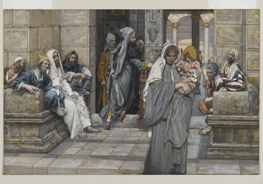 James Tissot (French, 1836-1902). <em>The Widow's Mite (Le denier de la veuve)</em>, 1886-1894. Opaque watercolor over graphite on gray wove paper, Image: 7 3/16 x 11 1/16 in. (18.3 x 28.1 cm). Brooklyn Museum, Purchased by public subscription, 00.159.211 (Photo: Brooklyn Museum, 00.159.211_PS2.jpg)