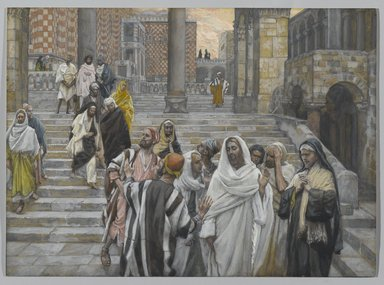 James Tissot (French, 1836-1902). <em>The Disciples Admire the Buildings of the Temple (Les disciples admirent les constructions du Temple)</em>, 1886-1894. Opaque watercolor over graphite on gray wove paper, Image: 8 7/16 x 11 9/16 in. (21.4 x 29.4 cm). Brooklyn Museum, Purchased by public subscription, 00.159.212 (Photo: Brooklyn Museum, 00.159.212_PS2.jpg)