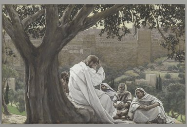 James Tissot (French, 1836-1902). <em>The Prophecy of the Destruction of the Temple (La prédication de la ruine du Temple)</em>, 1886-1894. Opaque watercolor over graphite on gray wove paper, Image: 7 1/8 x 11 1/16 in. (18.1 x 28.1 cm). Brooklyn Museum, Purchased by public subscription, 00.159.213 (Photo: Brooklyn Museum, 00.159.213_PS2.jpg)