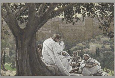 James Tissot (French, 1836-1902). <em>The Prophecy of the Destruction of the Temple (La prédication de la ruine du Temple)</em>, 1886-1894. Opaque watercolor over graphite on gray wove paper, Image: 7 1/8 x 11 1/16 in. (18.1 x 28.1 cm). Brooklyn Museum, Purchased by public subscription, 00.159.213 (Photo: Brooklyn Museum, 00.159.213_PS2.jpg)