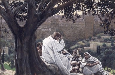 James Tissot (French, 1836-1902). <em>The Prophecy of the Destruction of the Temple (La prédication de la ruine du Temple)</em>, 1886-1894. Opaque watercolor over graphite on gray wove paper, Image: 7 1/8 x 11 1/16 in. (18.1 x 28.1 cm). Brooklyn Museum, Purchased by public subscription, 00.159.213 (Photo: Brooklyn Museum, 00.159.213_transp5758.jpg)