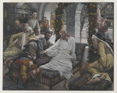 James Tissot (French, 1836-1902). <em>The Ointment of the Magdalene (Le parfum de Madeleine)</em>, 1886-1894. Opaque watercolor over graphite on gray wove paper, Image: 8 3/4 x 10 15/16 in. (22.2 x 27.8 cm). Brooklyn Museum, Purchased by public subscription, 00.159.214 (Photo: Brooklyn Museum, 00.159.214_PS2.jpg)