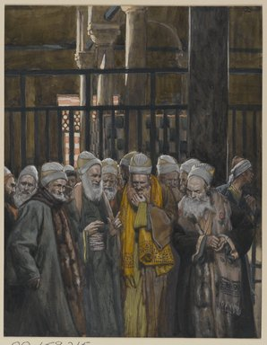 James Tissot (French, 1836-1902). <em>Conspiracy of the Jews (Conspiration des juifs)</em>, 1886-1894. Opaque watercolor over graphite on gray wove paper, Image: 9 7/16 x 7 5/16 in. (24 x 18.6 cm). Brooklyn Museum, Purchased by public subscription, 00.159.215 (Photo: Brooklyn Museum, 00.159.215_PS2.jpg)