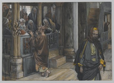 James Tissot (French, 1836-1902). <em>Judas Goes to Find the Jews (Judas va trouver les Juifs)</em>, 1886-1894. Opaque watercolor over graphite on gray wove paper, Image: 7 3/16 x 10 in. (18.3 x 25.4 cm). Brooklyn Museum, Purchased by public subscription, 00.159.216 (Photo: Brooklyn Museum, 00.159.216_PS2.jpg)