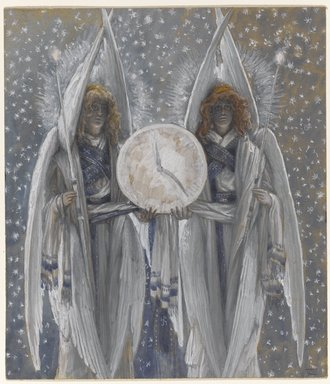 James Tissot (French, 1836-1902). <em>Angels Holding a Dial Indicating the Different Hours of the Acts of the Passion (Anges tenant un cadran indiquant les différentes heures des actes de la passion)</em>, 1886-1894. Opaque watercolor over graphite on gray wove paper, Image: 7 3/4 x 6 3/4 in. (19.7 x 17.1 cm). Brooklyn Museum, Purchased by public subscription, 00.159.218 (Photo: Brooklyn Museum, 00.159.218_PS1.jpg)
