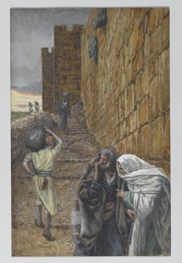 James Tissot (French, 1836-1902). <em>The Man Bearing a Pitcher (L'homme à la cruche)</em>, 1886-1894. Opaque watercolor over graphite on gray wove paper, Image: 9 7/8 x 6 5/16 in. (25.1 x 16 cm). Brooklyn Museum, Purchased by public subscription, 00.159.219 (Photo: Brooklyn Museum, 00.159.219_PS2.jpg)