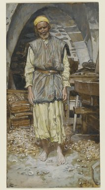 James Tissot (French, 1836-1902). <em>Saint Joseph</em>, 1886-1894. Opaque watercolor over graphite on gray wove paper, Image: 9 3/16 x 4 3/4 in. (23.3 x 12.1 cm). Brooklyn Museum, Purchased by public subscription, 00.159.21 (Photo: Brooklyn Museum, 00.159.21_PS2.jpg)