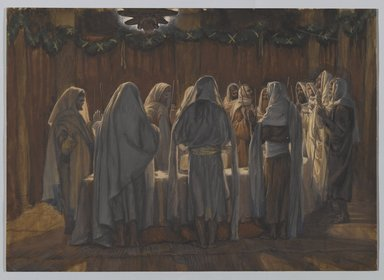 James Tissot (French, 1836-1902). <em>The Last Supper (La Cène légale)</em>, 1886-1894. Opaque watercolor over graphite on gray wove paper, Image: 8 9/16 x 12 1/16 in. (21.7 x 30.6 cm). Brooklyn Museum, Purchased by public subscription, 00.159.220 (Photo: Brooklyn Museum, 00.159.220_PS2.jpg)