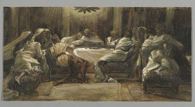 James Tissot (French, 1836-1902). <em>The Last Supper: Judas Dipping his Hand in the Dish (La Céne. Judas met la main dans le plat)</em>, 1886-1894. Opaque watercolor over graphite on gray wove paper, Image: 9 3/4 x 19 3/8 in. (24.8 x 49.2 cm). Brooklyn Museum, Purchased by public subscription, 00.159.221 (Photo: Brooklyn Museum, 00.159.221_PS2.jpg)