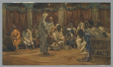 James Tissot (French, 1836-1902). <em>The Washing of the Feet (Le lavement des pieds)</em>, 1886-1894. Opaque watercolor over graphite on gray wove paper, Image: 9 3/4 x 16 11/16 in. (24.8 x 42.4 cm). Brooklyn Museum, Purchased by public subscription, 00.159.222 (Photo: Brooklyn Museum, 00.159.222_PS2.jpg)