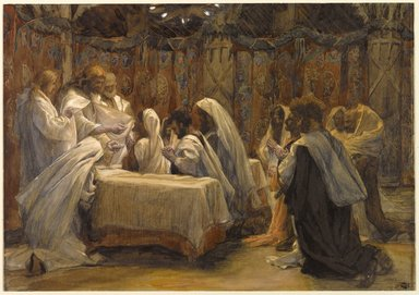 James Tissot (French, 1836-1902). <em>The Communion of the Apostles (La communion des apôtres)</em>, 1886-1894. Opaque watercolor over graphite on gray wove paper, Image: 9 7/16 x 13 1/2 in. (24 x 34.3 cm). Brooklyn Museum, Purchased by public subscription, 00.159.223 (Photo: Brooklyn Museum, 00.159.223_PS1.jpg)