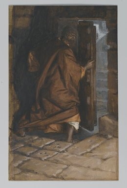 James Tissot (French, 1836-1902). <em>Judas Leaves the Cenacle (Judas quitte le Cénacle)</em>, 1886-1894. Opaque watercolor over graphite on gray wove paper, Image: 8 13/16 x 5 9/16 in. (22.4 x 14.1 cm). Brooklyn Museum, Purchased by public subscription, 00.159.224 (Photo: Brooklyn Museum, 00.159.224_PS2.jpg)