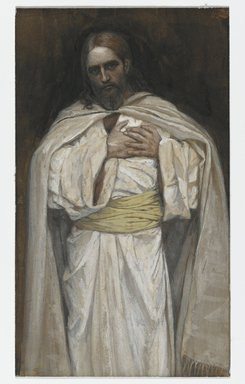 James Tissot (French, 1836-1902). <em>Our Lord Jesus Christ (Notre-Seigneur Jésus-Christ)</em>, 1886-1894. Opaque watercolor over graphite on gray wove paper, Image: 6 7/16 x 3 3/4 in. (16.4 x 9.5 cm). Brooklyn Museum, Purchased by public subscription, 00.159.226 (Photo: Brooklyn Museum, 00.159.226_PS2.jpg)