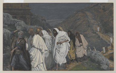 James Tissot (French, 1836-1902). <em>The Protestations of Saint Peter (Protestations de Saint Pierre)</em>, 1886-1894. Opaque watercolor over graphite on gray wove paper, Image: 7 5/16 x 11 13/16 in. (18.6 x 30 cm). Brooklyn Museum, Purchased by public subscription, 00.159.228 (Photo: Brooklyn Museum, 00.159.228_PS2.jpg)