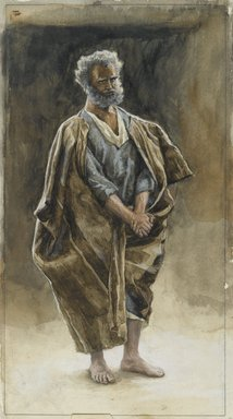 James Tissot (French, 1836-1902). <em>Saint Peter (Saint Pierre)</em>, 1886-1894. Opaque watercolor over graphite on cream wove paper, Image: 13 5/8 x 9 3/4 in. (34.6 x 24.8 cm). Brooklyn Museum, Purchased by public subscription, 00.159.229 (Photo: Brooklyn Museum, 00.159.229_PS2.jpg)
