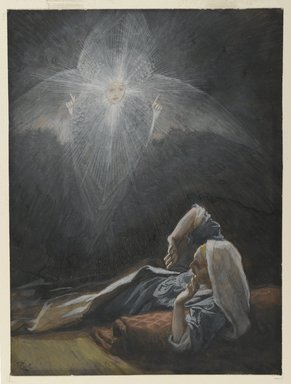 James Tissot (French, 1836-1902). <em>The Vision of Saint Joseph (Vision de Saint Joseph)</em>, 1886-1894. Opaque watercolor over graphite on gray wove paper, Image: 6 9/16 x 4 7/8 in. (16.7 x 12.4 cm). Brooklyn Museum, Purchased by public subscription, 00.159.22 (Photo: Brooklyn Museum, 00.159.22_PS2.jpg)
