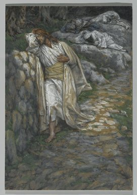 James Tissot (French, 1836-1902). <em>My Soul is Sorrowful unto Death (Mon âme est triste jusqu'à la mort)</em>, 1886-1894. Opaque watercolor over graphite on gray wove paper, Image: 9 7/8 x 6 7/8 in. (25.1 x 17.5 cm). Brooklyn Museum, Purchased by public subscription, 00.159.230 (Photo: Brooklyn Museum, 00.159.230_PS2.jpg)
