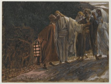 James Tissot (French, 1836-1902). <em>The Kiss of Judas (Le baiser de Judas)</em>, 1886-1894. Opaque watercolor over graphite on gray wove paper, Image: 8 1/16 x 10 11/16 in. (20.5 x 27.1 cm). Brooklyn Museum, Purchased by public subscription, 00.159.234 (Photo: Brooklyn Museum, 00.159.234_PS2.jpg)